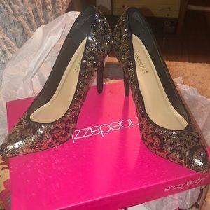 Black and Gold sequence heels